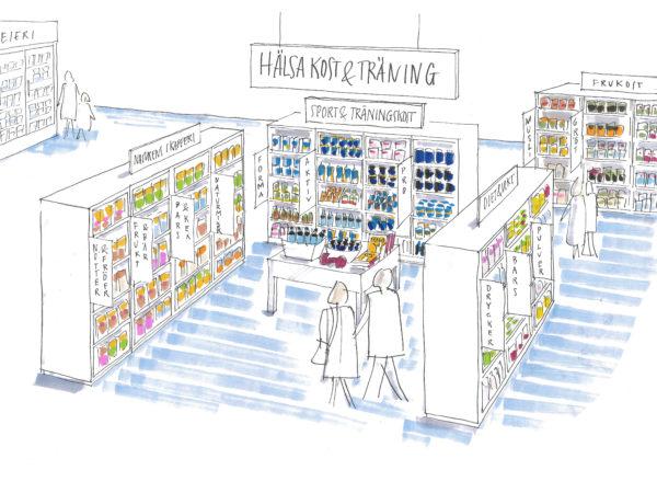 Hälsans kök, skiss butikskoncept